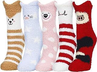 5 Pack Women Girls Colorful Indoors Fluffy Fuzzy Slipper Socks, 3D Cute Animals Winter Warm Crew Fuzzy Socks Value Pack