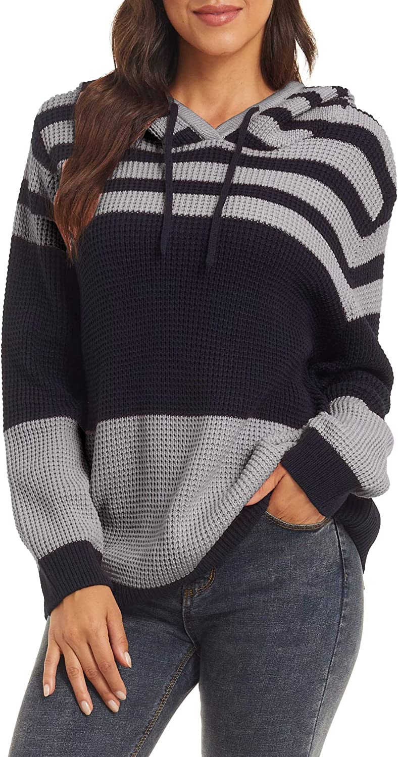 MAGCOMSEN Womens Long Sleeve Knit Sweater Striped Color Block Casual Hoodies Pullover Sweatshirt Tops