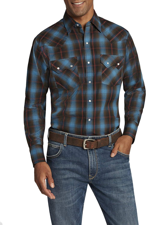 ELY CATTLEMAN Men's Long Sleeve Textured Dobby Plaid Shirt