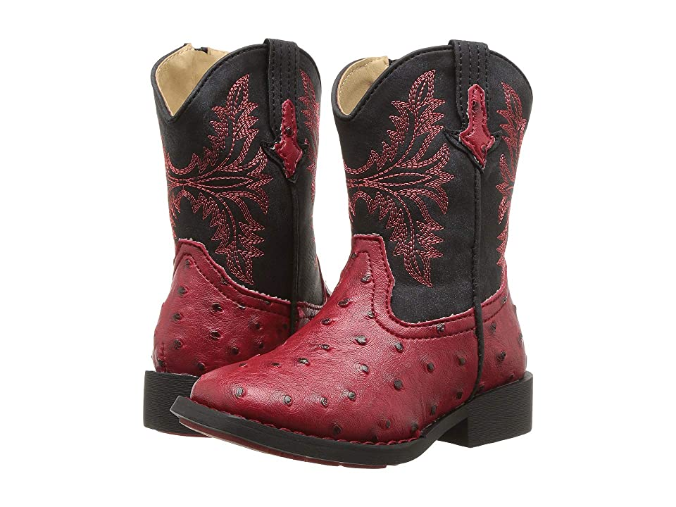 Roper Kids Cowboy Cool (Toddler) (Red Faux Ostrich Vamp) Cowboy Boots