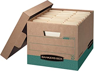 Bankers Box R-KIVE Heavy-Duty Storage Boxes, FastFold, Lift-Off Lid, 100% Recycled,Letter/Legal, Case of 12 (12775)
