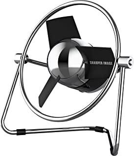 Sharper Image SBM1-SI USB Fan with Soft Blades, 2 Speeds, Touch Control, Quiet Operation, Metal Frame, 5V Wall Adapter, 6 ft. Cable, Black/Chrome (Renewed)