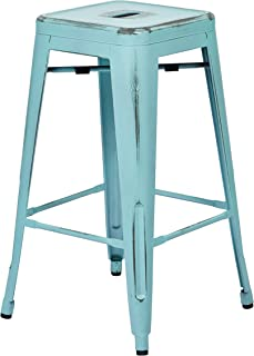 Office Star Bristow Antique Metal Barstool, 26-Inch, Antique Sky Blue, 4-Pack