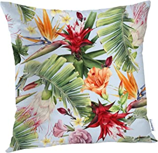 Batmerry Spring Pillows Decorative Throw Pillow Covers 18x18 Inch, Abstract Tropical Floral Aloha Blossom Botanical Flower Garment Double Sided Square Pillow Cases Pillowcase Sofa Cushion