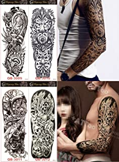 DaLin 4 Sheets Extra Large Temporary Tattoos, Full Arm (Set 4)