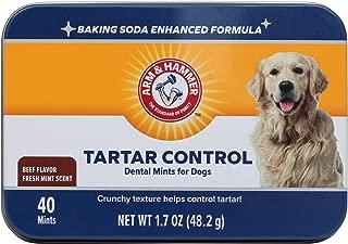 Arm & Hammer Dog Dental Care Tartar Control Dental Mints for Dogs   Reduces Plaque & Tartar Buildup Without Brushing, 1.7 ounces (40 Pcs), Beef Flavor