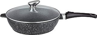Pradel Excellence 52391M - Sartén con Tapa (Aluminio, Tapa de Cristal, diámetro 24 cm), Color Negro