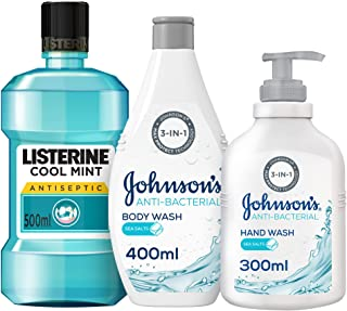 Hygiene Pack – Listerine Cool Mint Mouthwash 500ml, Johnson's Anti-bacterial Body Wash 400ml & Hand Wash 300ml, Set of 3, ...