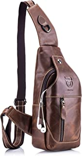 Men's Sling Bag Genuine Leather Chest Shoulder Backpack Cross Body Purse Water Resistant Anti Theft