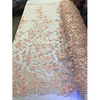 A Tong Gu Lace Fabric Organza 3D Pink Chiffon Rose Floral Embroidery 55 Wide by Meter