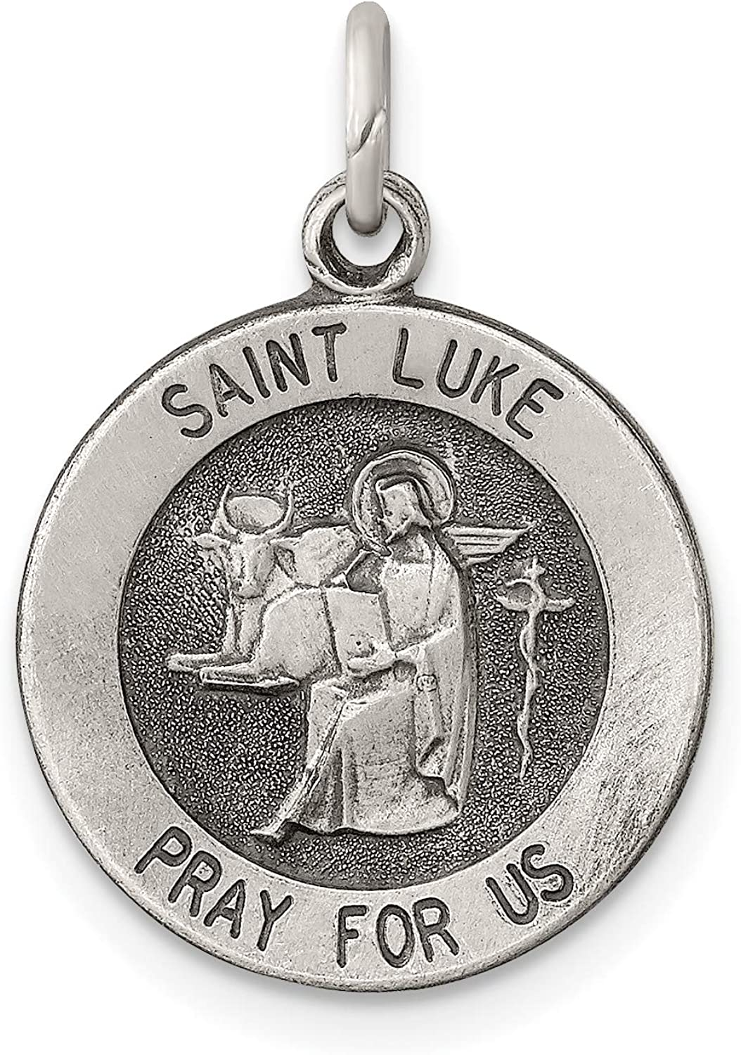 Sterling Silver Antiqued Complete Free Shipping Saint Luke 20x15mm NEW before selling ☆ Medal