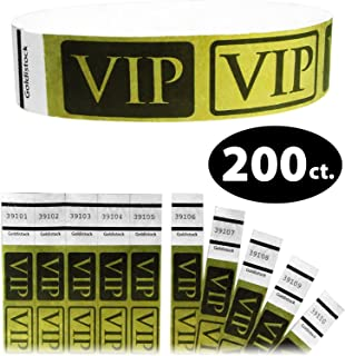 "Tyvek Wristbands - Goldistock VIP Deluxe Metallic Gold 200 Count - ¾"" Arm Bands - Paper-Like Party Armbands - Heavier Tyvek Wrist Bands = Upgrading Your Event"