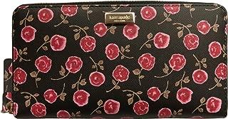 Kate Spade New York Neda Laurel Way Hazy Rose Zip Around Leather Wallet Rooster Red