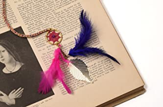 Rooh Dream Catcher ~ Book Mark Pink Purple ~ Handmade Book Marks for Positivity (Can be Used in Notebooks, Diary, Magazine, Books, Handbooks, Diaries, Library Notes, GoodLuck Charm)