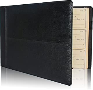 Skittz Premium PU Leather Business Check Binder 7 Ring 3 on a Page Checkbook Holder w/Zip Pouch (Black Premium Check Binder)