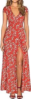 HOMEYEE Women's Deep V-Neck Floral Split Beach Maxi Dress A098