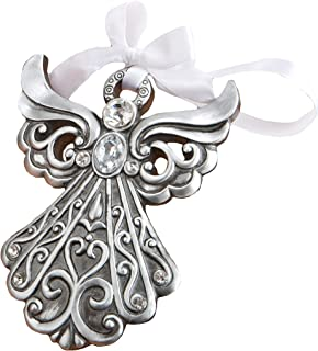 Best Silver Angel Ornament with Antique Finish from Fashioncraft, Holiday Communion Christening Party Favors, Set of 1 Review