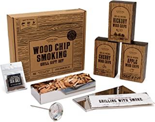 Cooking Gift Set | Wood Chips for Smoking and Grilling Box Set (6 PC) | BBQ Accessories Perfect for Birthday Gifts for Men, Anniversary, Housewarming Gifts