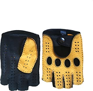 6a4b10e51e6d4 Men's Peccary Fingerless Gloves Cycling Gloves Color Black Yellow By Hungant  (9,5,
