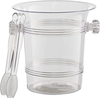 Exquisite 1.5 Quart Hard Plastic Ice Bucket With Tongs- 6 Count- Clear