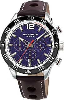 Akribos XXIV Chronograph Complications Men's Watch - 3 Subdials with Date Window On Perforated Leather Strap with White Stitching Strap - AK1097