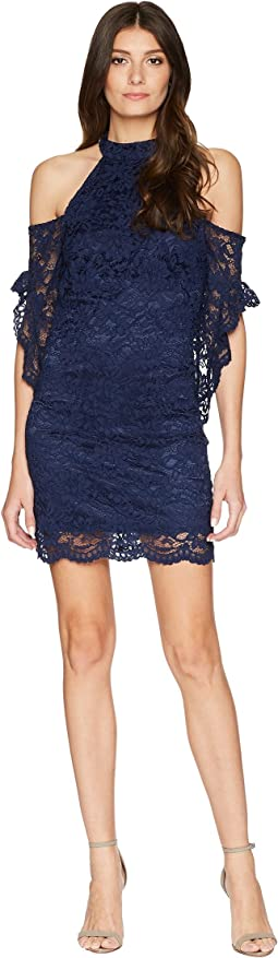 Mock Neck & Cold Shoulder Lace Dress with Flutter