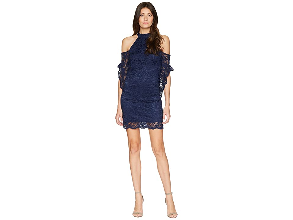 Laundry by Shelli Segal Mock Neck Cold Shoulder Lace Dress with Flutter (Midnight) Women