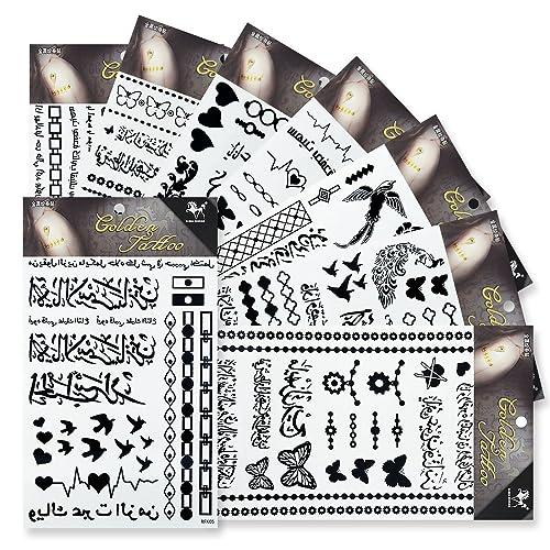e0598f290fd80 8 Sheets Black Temporary Tattoos,KINGHORSE Fake Tattoos Henna Tattoo Body  Art Sticker Arm Shoulder