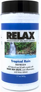 Tropical Rain Aromatherapy Bath Crystals -17 Oz- Natural Dead Sea Salts & Vitamins – Aroma Therapy For Hot Tubs, Spas & Jacuzzi