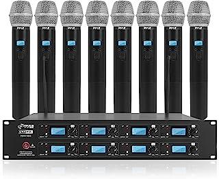 Pyle Professional 8 Channel UHF Wireless Microphone System 8 Handheld Mics Rack Mount Receiver Base RF & AF Radio/Audio Fr...