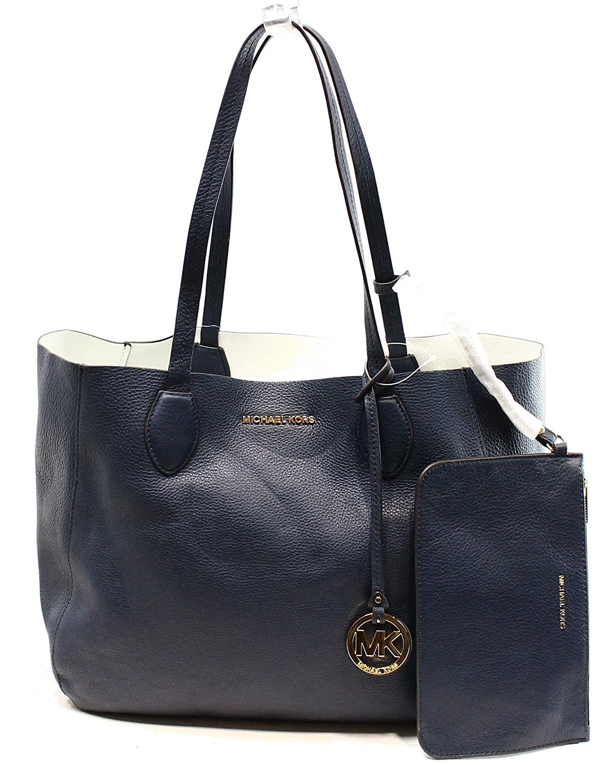 MICHAEL MICHAEL KORS Mae Large Leather Reversible Tote (Navy/White)