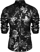 COOFANDY Men's Rose Shiny Shirt Luxury Flowered Printed Button Down Shirt