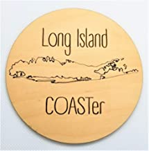 Long Island Drink Coasters - Set of 4 Maple Wood - New York Coastline Map - Laser Engraved Art - Housewarming Gift