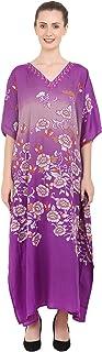 Miss Lavish London Kaftan Tunic One Size Beach Cover Up Maxi Dress Sleepwear Embellished Kimonos [Purple]