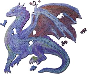 BaSi FoQo 221 Unique Shape Pieces Wooden Jigsaw Puzzles–Stardust Dragon Size 13.7x13.7in(35x35cm) Puzzle Animal Jigsaw Wooden Puzzles for Adults - Best for Family Game Play Collection