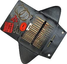 addi Click Nature Olive Wood GOLD Edition - Interchangeable Needle Set with addi Gold Scissors, addi Gold Cords, addi Love Stitch Marker, addiGrip Pads and Needle Gauge
