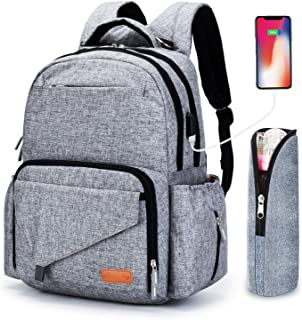 Ankommling Diaper Bag Backpack for Mum, Large Capacity Multi-Function Waterproof Cloth Nappy Bags Organizer with USB Charging Port Insulated Water Bottle Bag for Women/Girls/Mum