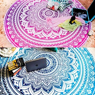 "72/"" Golden Round Ombre Mandala Tapestry Boho Table Cloth Picnic Blanket Yoga Mat"