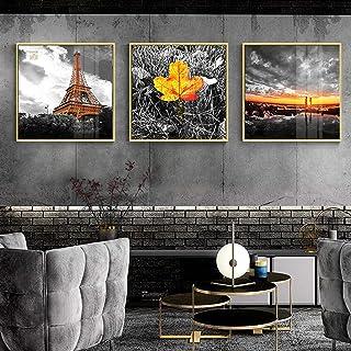 Pintura de la lona Impresión de paisaje moderno Arte de la pared Póster Amarillo Imagen de paisaje fresco Pintura artístic...