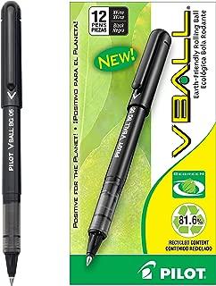 PILOT VBall BeGreen Liquid Ink Rolling Ball Stick Pens, Extra Fine Point, Black Ink, 12 Count (53206)