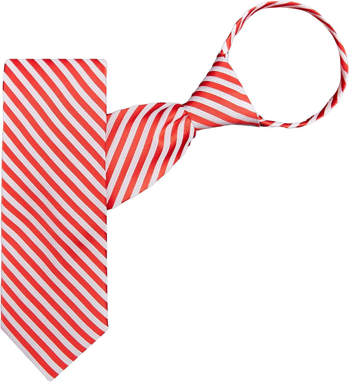 Jacob Alexander Men's Christmas Candy Cane Red White Stripe Zipper Neck Tie