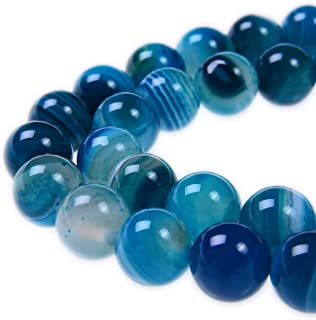 PLTbeads 8mm Blue Stripe Agate Smooth Round Shape Natural Gemstone Loose Beads For 1 Strand per Bag Approxi 15.5 inch 48-50pcs Jewelry Making