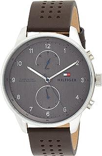 ساعة كوارتز بمينا متعدد للرجال بسوار من الجلد من تومي هيلفجر، موديل 2770047