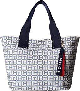 Tommy Hilfiger Classic Tommy TH Logo Canvas Tote