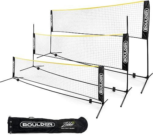 Boulder Portable Badminton Net Set - Net for Tennis, Soccer Tennis, Pickleball, Kids Volleyball - Easy Setup Nylon Sp...