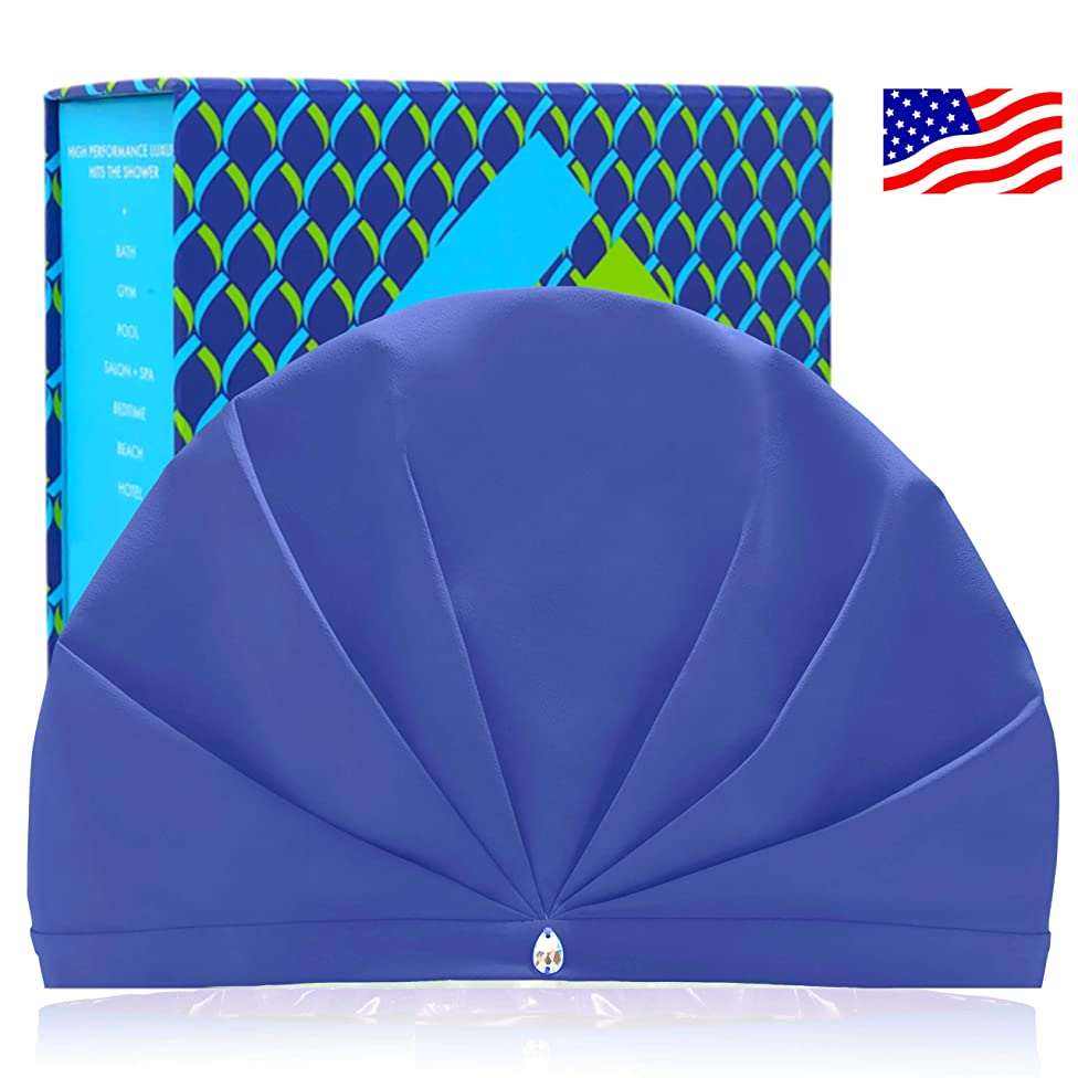SUPERPOWER TURBAN The Only Shower Caps For Women That Release Humidity | Adjustable | No Slip | Luxury Hi-Tech Waterproof Breathable Fabric Keeps Dry Hair Styled | Made in USA | Swarovski | GIFT Box