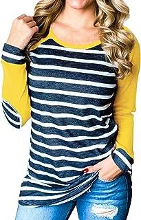 Women's Casual Long Sleeve Baseball Tee Striped Tunic T Shirt Tops Blouse