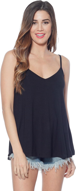 A+D Womens Knit V-Neck Sexy Cami Tank Top w A-Line Silhouette