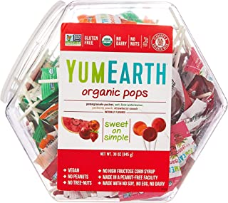 Yummy Earth Assorted Organic Lollipops Counter Tub, Pack of 125 (854g)