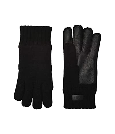 UGG Knit Tech Leather Palm Gloves with Sherpa Lining (Black) Extreme Cold Weather Gloves